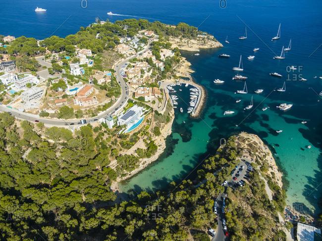 Spain Mallorca Palma de Mallorca Aerial view El Toro Villas and yachts near Portals Vells