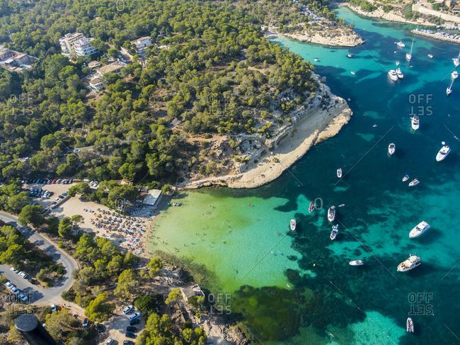 Spain Mallorca Palma de Mallorca Aerial view El Toro beach near Portals Vells
