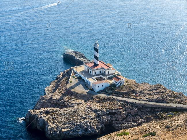 Spain Mallorca Palma de Mallorca Aerial view Cap de Cala Figuera lighthouse