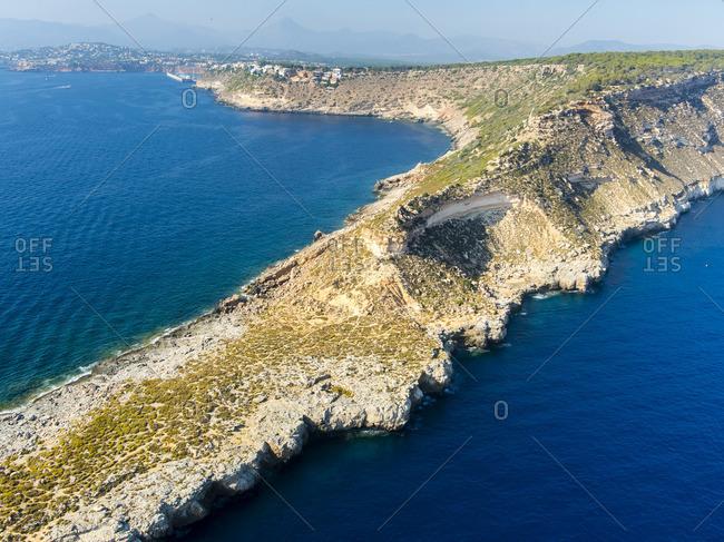Spain Mallorca Palma de Mallorca Aerial view Cala Rafeubetx