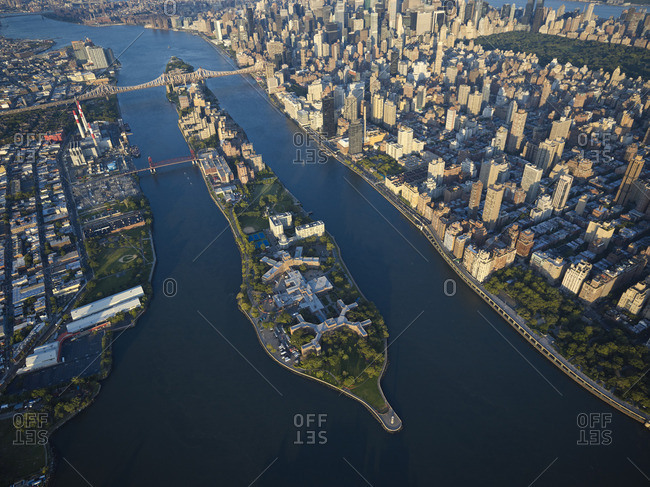 USA New York City Aerial photograph of Roosevelt Island in the East River
