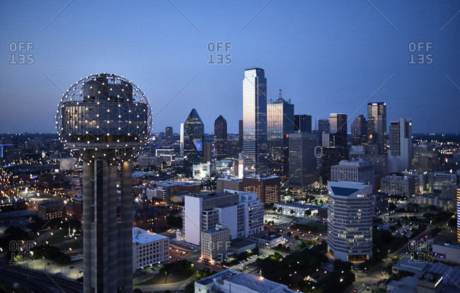 USA Texas Aerial photograph of the Dallas skyline in the early evening