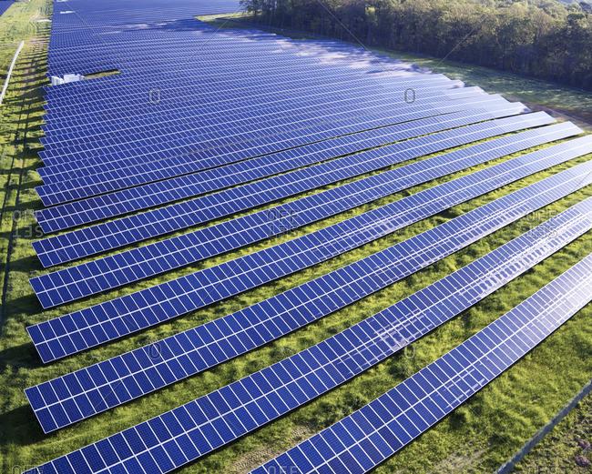 USA North Carolina Lowlevel aerial photograph of a solar field