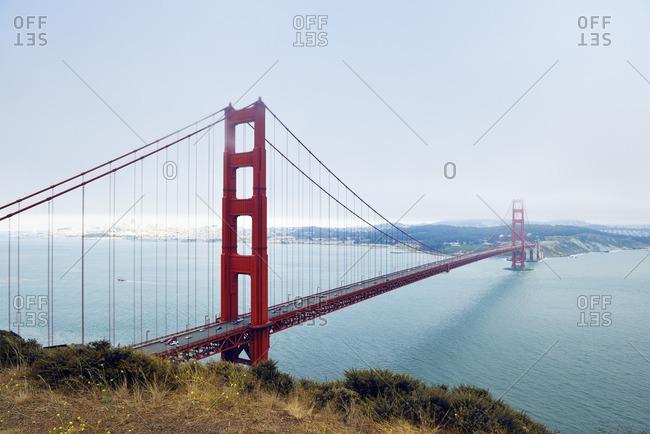 USA California San Francisco Golden Gate Bridge as seen from Battery Spencer