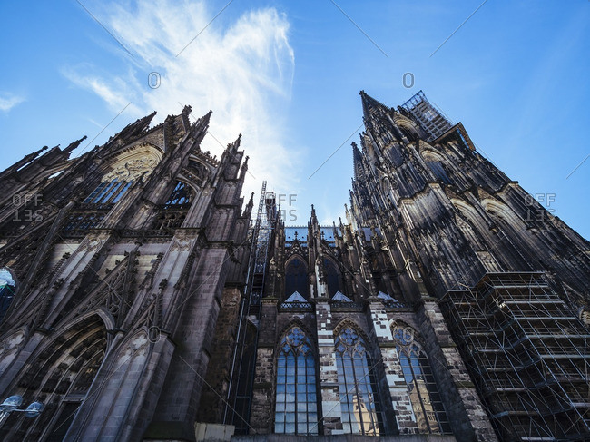 Germany Cologne view to Cologne Cathedral from below