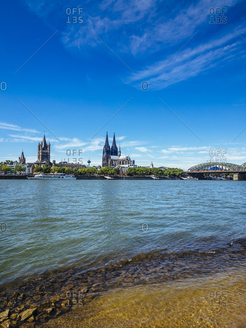 Germany Cologne view to the city with Cologne Cathedral and Rhine River in the foreground