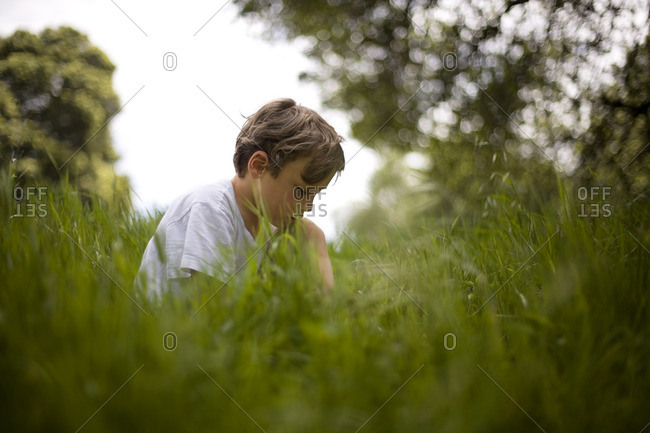 Young boy sitting in long grass.