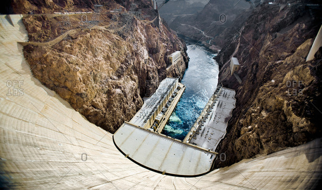 Hydroelectric dam in a canyon.