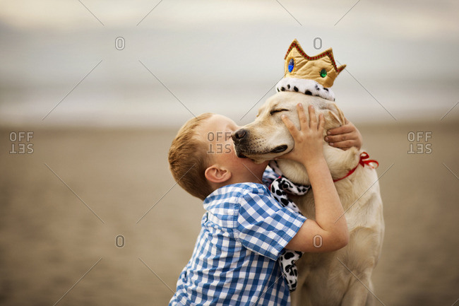 Dog wearing a fabric crown nuzzling with his young owner.