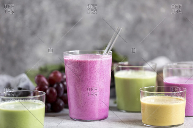 Variety of multi-colored beet smoothies