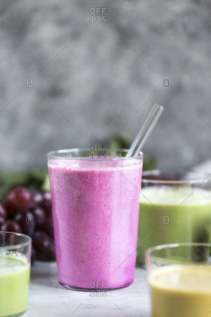 Multi-colored beet smoothies