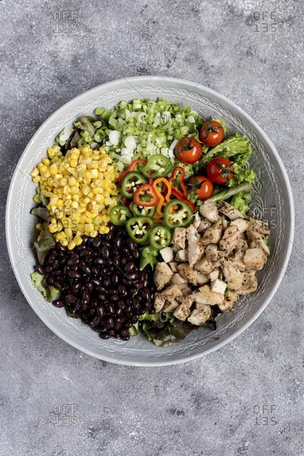 Southwestern chicken salad being prepared