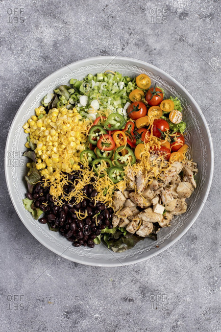 Southwestern chicken salad being prepared in a large bowl