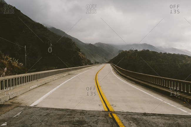 Highway road with fog