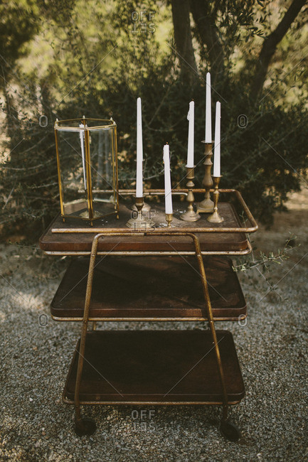 Vintage candles on cart