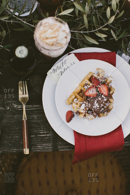 Table set for a party with waffles