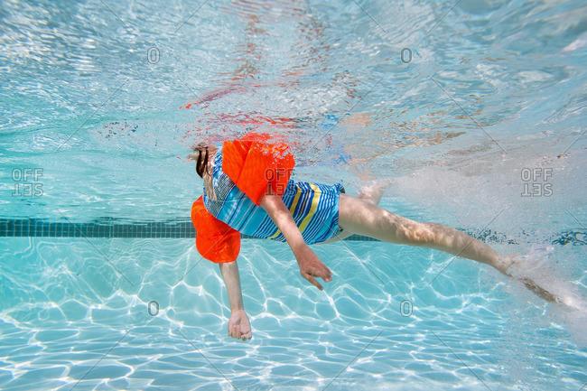 Girl swimming in a swimming pool