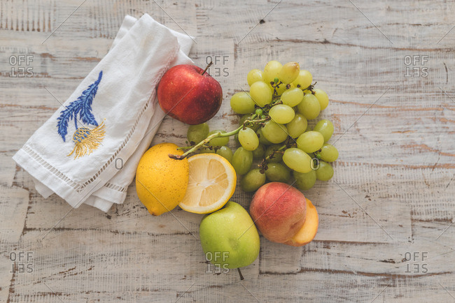 Medley of fruit on a table with a colorful linen napkin