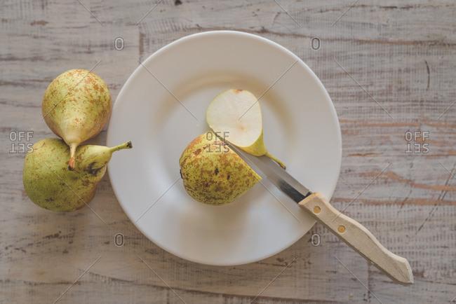 Sliced pear on a plate