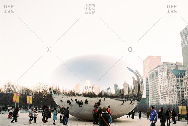 Chicago, Illinois - August 5, 2016: Cloud Gate at Millennium Park in Chicago