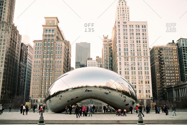Chicago, Illinois - August 5, 2016: The Bean at Millennium Park in Chicago