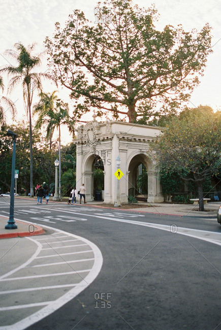 Stone arched entryway to city building