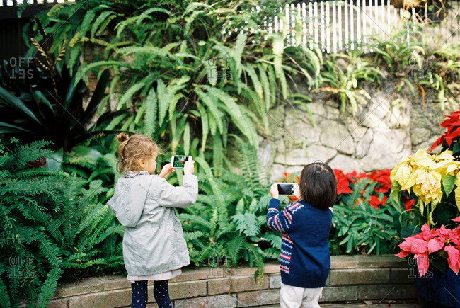 Two children taking pictures of plants