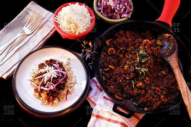 Mexican braised beef with cabbage and cauliflower rice