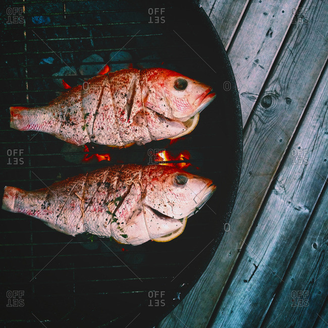 Two red snapper fish on a charcoal grill