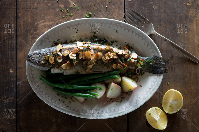 Fried Trout with Brown Butter Almonds and Vegetables