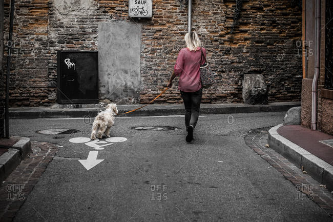 Woman walking dog in street in Toulouse, France