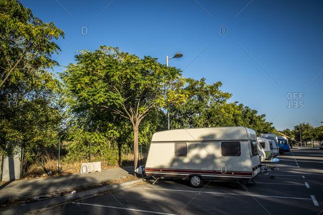 Barcelona, Spain - September 18, 2016: Campers parked along street