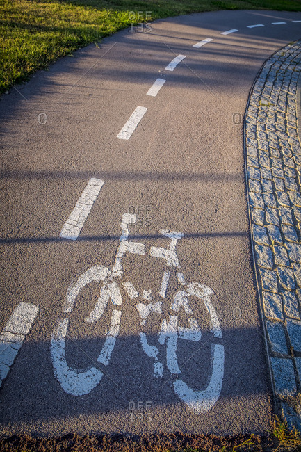 Bike path symbol painted on road in Sant Cugat del Valles, Spain