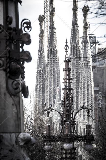 Barcelona, Spain - February 7, 2016: Street scene near Basilica de la Sagrada Familia