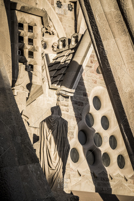 Barcelona, Spain - February 7, 2016: Detail of exterior of Gaudi's Basilica de la Sagrada Familia