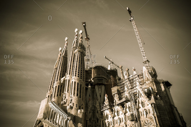 Barcelona, Spain - February 7, 2016: Antoni Gaudi's Basilica de la Sagrada Familia under restoration