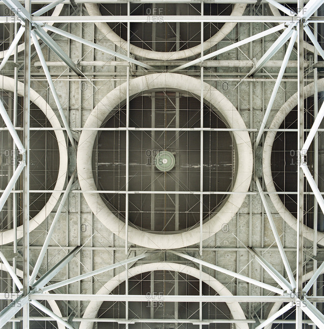 Industrial fans on wall