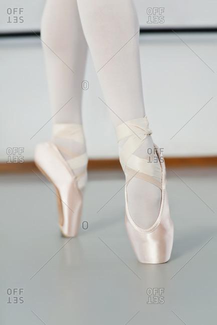 Ballet dancer standing on pointe