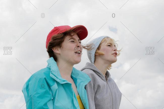 Girls shouting outdoors