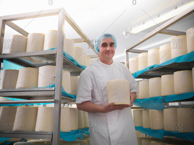 Head cheese-maker with round cheeses in cheese-making factory