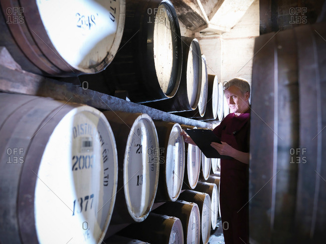 Worker checking ageing whisky barrels in distillery