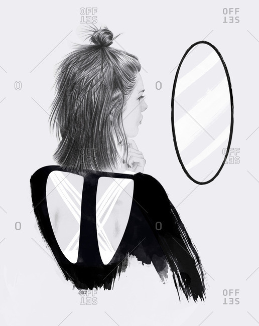 Illustration of a woman looking at a mirror