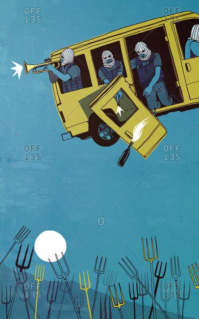 Terrorists in van over pitchforks