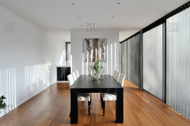 Contemporary dining room in a custom home