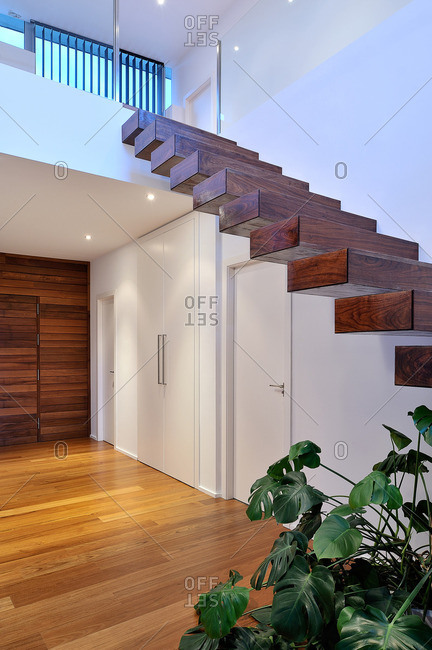 Foyer and stairs in a contemporary home
