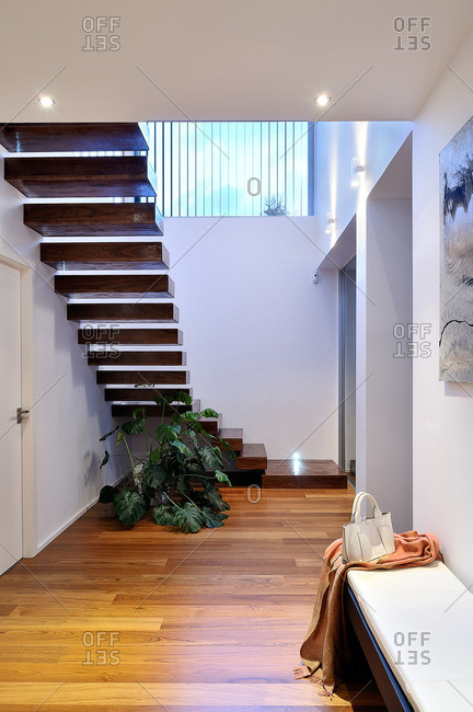 Hallway and stairs in a contemporary home