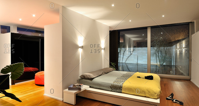 Contemporary bedroom in a custom home