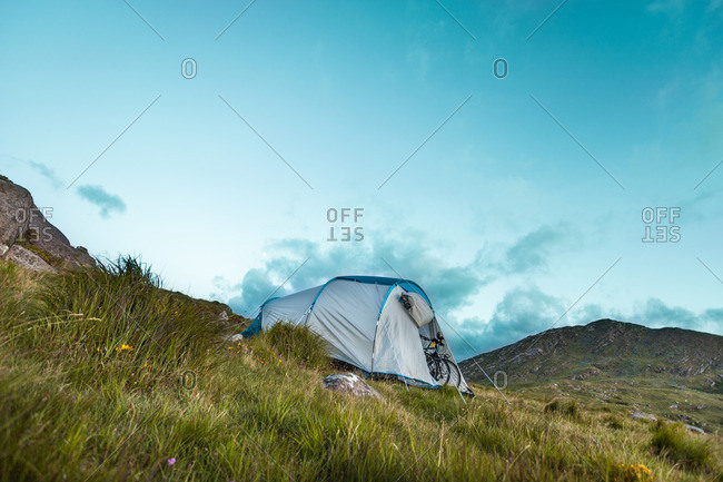 Tent pitched in the mountains of Ireland