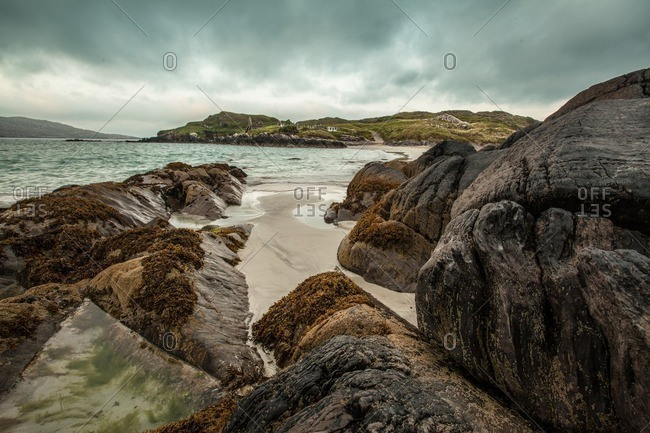 Rocky Irish coast on a cloudy day