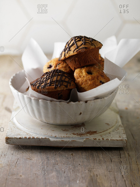 Bowl of various muffins